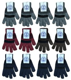 240 Units of Yacht & Smith Stripe Print Mens Winter Gloves With Stretch Cuff Bulk Buy - Bulk Gloves for Homeless and Charity