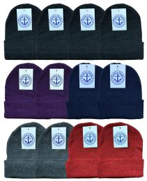144 Units of Yacht & Smith Unisex Winter Knit Hat Assorted Colors BULK BUY - Bulk Hats for Homeless and Charity