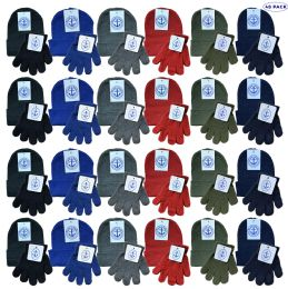 48 Units of Yacht & Smith Wholesale Kids Beanie And Glove Sets (beanie Glove Set, 48) - Winter Sets Scarves , Hats & Gloves