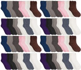48 Units of Yacht & Smith Women Fuzzy Socks Crew Socks, Warm Butter Soft, Neutral Colors (size 9-11) - Womens Fuzzy Socks