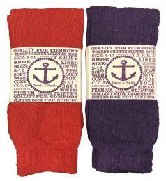 12 Units of Yacht & Smith Women's Thermal Non-Slip Tube Socks, Gripper Bottom Socks - Womens Slipper Sock
