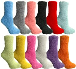 24 Units of Yacht & Smith Women's Solid Color Gripper Fuzzy Socks Assorted Colors, Size 9-11 - Womens Fuzzy Socks
