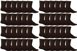 36 Units of Yacht & Smith Women's Sports Crew Socks, Size 9-11, Brown - Womens Crew Sock