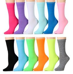 240 Units of Yacht & Smith Women's Thin Assorted Colors Crew Socks - Womens Crew Sock