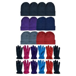 288 Units of Yacht & Smith Women's Winter Care Set, Fleece Gloves And Winter Beanie Set - Winter Sets Scarves , Hats & Gloves