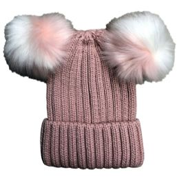 Yacht & Smith Womens 3 Inch Double Pom Pom Ribbed Beanie Hat, Pink - Fashion Winter Hats