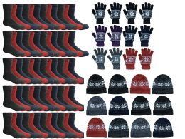 180 Units of Yacht & Smith Womens 3 Piece Winter Care Set, Fleece Hat, Thermal Sock, Snow Flake Glove - Winter Sets Scarves , Hats & Gloves