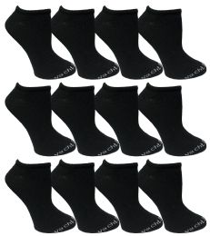 480 Units of Yacht & Smith Womens 97% Cotton Low Cut No Show Loafer Socks Size 9-11 Solid Black Bulk Buy - Womens Ankle Sock