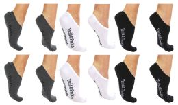 120 Units of Yacht & Smith Womens Cotton No Show Loafer Socks With Anti Slip Silicone Strip Black White Gray - Womens Ankle Sock