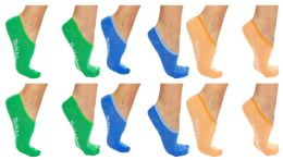 120 Units of Yacht & Smith Womens Cotton No Show Loafer Socks With Anti Slip Silicone Strip Assorted Pastel - Womens Ankle Sock