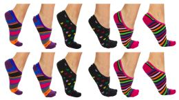 120 Units of Yacht & Smith Womens Cotton No Show Loafer Socks With Anti Slip Silicone Strip Assorted Prints - Womens Ankle Sock