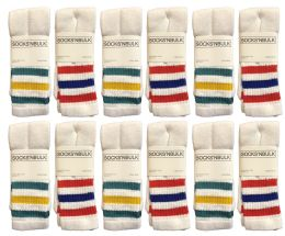 12 Units of Yacht & Smith Women's Cotton Striped Tube Socks, Referee Style Size 9-15 22 Inch - Women's Tube Sock