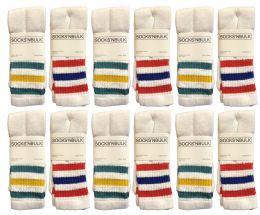 6 Units of Yacht & Smith Women's Cotton Striped Tube Socks, Referee Style Size 9-15 22 Inch - Women's Tube Sock