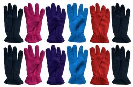 144 Units of Yacht & Smith Womens Double Layer Fleece Gloves Packed Assorted Colors - Fleece Gloves