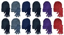 24 Units of Yacht & Smith Womens Warm Winter Hats And Glove Set 24 Pieces - Winter Sets Scarves , Hats & Gloves