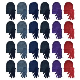 96 Units of Yacht & Smith Womens Warm Winter Hats And Glove Set Assorted Colors 96 Pieces - Winter Care Sets