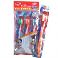 48 Units of Toothbrush 3PK in Poly Bag - Toothbrushes and Toothpaste