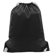 "48 Units of White Drawstring Backpack-Black - Backpacks 15"" or Less"