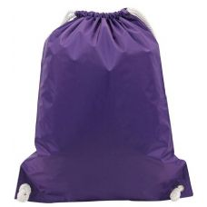 "48 Units of White Drawstring Backpack-Purple - Backpacks 15"" or Less"