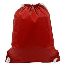 "48 Units of White Drawstring Backpack-Red - Backpacks 15"" or Less"