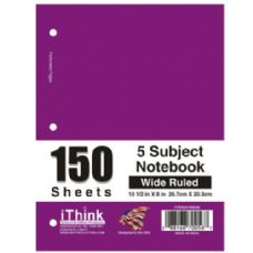 36 Units of Spiral Notebook 5 Subject Wide Rule - Notebooks