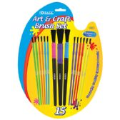 144 Units of BAZIC Asst. Size Kid's Watercolor Paint Brush Set (15/Pack) - Paint/Paint Brushes/Finger Paint