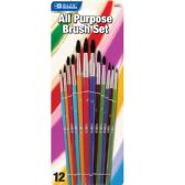 144 Units of BAZIC Asst. Size Paint Brush Set (12/Pack) - Paint/Paint Brushes/Finger Paint