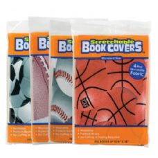 "48 Units of Assorted Sports 8"" X 10"" Stretchable Fabric Book Covers - Book Covers"