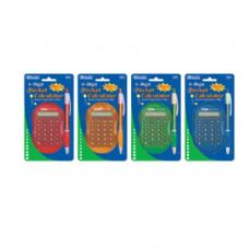 144 Units of BAZIC Multicolor 8-Digit Grip Calculator w/ Retractable Pen - Calculators