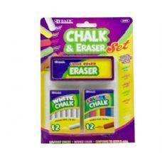 144 Units of BAZIC 12 Color & 12 White Chalk w/ Eraser Sets - CHALK,CHALKBOARDS,CRAYONS