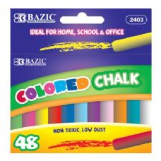 144 Units of BAZIC Assorted Color Chalk (48/Box) - CHALK,CHALKBOARDS,CRAYONS