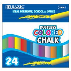 72 Units of BAZIC Dustless Assorted Color Chalk (24/Box) - CHALK,CHALKBOARDS,CRAYONS