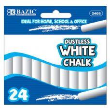 72 Units of BAZIC Dustless White Chalk (24/Box) - CHALK,CHALKBOARDS,CRAYONS
