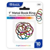 "144 Units of BAZIC 1"" Assorted Color Metal Book Rings (10/Pack) - Clips and Fasteners"