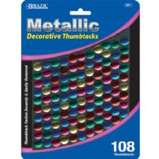 48 Units of BAZIC Assorted Color Decorative Thumb Tack (108/Pack) - Push Pins and Tacks