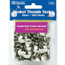 144 Units of BAZIC Nickel (Silver) Thumb Tack (200/Pack) - Clips and Fasteners