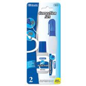 144 Units of BAZIC Metal Tip Correction Pen & Correction Fluid (2/Pack) - Correction Items