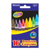 144 Units of BAZIC 16 Color Premium Quality Crayon - Chalk,Chalkboards,Crayons