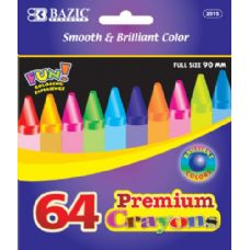 48 Units of BAZIC 64 Ct. Premium Quality Color Crayon - Chalk,Chalkboards,Crayons