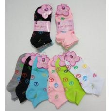 48 Units of 3pr Anklets 9-11 [Single-Color Peace Signs] - Girls Ankle Sock