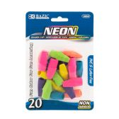 72 Units of BAZIC Neon Eraser Sets (18/Pack) - Erasers