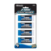 144 Units of BAZIC Two-Tone Vinyl Eraser (4/Pack) - Erasers