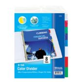 144 Units of BAZIC 3-Ring Binder Dividers w/ 8-Insertable Color Tabs - Clipboards and Binders