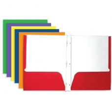 100 Units of BAZIC Asst. Color 2-Pockets Portfolios w/ 3-Prong Fastener - Folders and Report Covers