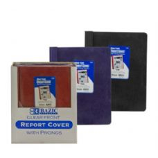 48 Units of BAZIC Clear Front Report Cover w/ 3-Prong Fastener - Folders and Report Covers