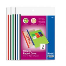 144 Units of BAZIC Clear Front Report Covers w/ Sliding Bar (3/Pack) - Folders and Report Covers