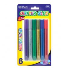 144 Units of BAZIC 15ml Metallic Glitter Glue Pen (6/pack) - Glue Office and School