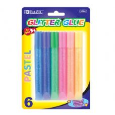 144 Units of BAZIC 15ml Pastel Glitter Glue Pen (6/Pack) - Glue Office and School