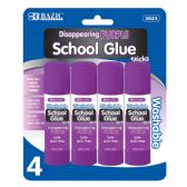 144 Units of BAZIC 8g / 0.28 Oz.  Small Washable Purple Glue Stick (4/Pack) - Glue Office and School