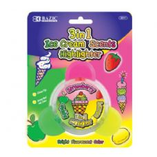 144 Units of BAZIC Ice Cream Scented 3-in-1 Highlighters - Markers and Highlighters
